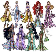 #Hayden Williams Fashion Illustrations: #Disney Divas 'Beach Beauties' collection by Hayden Williams.