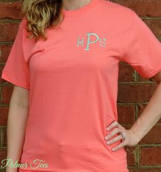 Plus Size Monogrammed Short Sleeve T-Shirt in Coral by PalmerTees