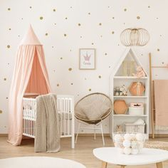 Gold armchair and ladder in pastel girly bedroom interior with canopied white crib. more similar stock images Wall Stickers Stars, Polka Dot Wall Decals, Polka Dot Walls, Nursery Wall Decals, Nursery Room, Nursery Decor, Wall Vinyl, Wall Art, Wall Decor