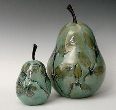 Botanical Pears: Suzanne Crane: Ceramic Sculpture – Artful Home – Ceramic Art, Ceramic Pottery Ceramic Clay, Ceramic Painting, Ceramic Pottery, Pottery Art, Painted Pottery, Pottery Courses, Pyrus, Hand Built Pottery, Pottery Designs