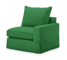 PB Comfort Square Arm Slipcovered Right Arm Chair, Knife Edge Polyester Wrapped Cushions, Linen Blend Grass Green