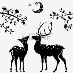 Illustration of deer vector art, clipart and stock vectors. Deer Photos, Deer Pictures, Deer Vector, Vector Art, Hirsch Silhouette, Gond Painting, Ceramic Painting, Black And White Illustration, Animal Sketches