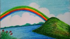 scenery drawing easy rainbow draw step drawings very landscape paintings landscapes pastel pencil paintingvalley