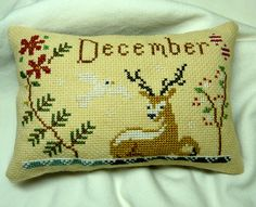 Finished / Completed Primitive Cross Stitch Pillow Ornament - DECEMBER - Hand Stitched from a Design by The Snowflower Diaries