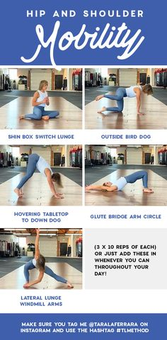 The best mobility work outs to target your Hip and Shoulders Makeup Dupes Palette Art Care Hip Mobility Exercises, Flexibility Workout, Workout Exercises, Fitness Websites, Workout Programs For Women, Glute Bridge, Yoga, Easy Workouts, Diet