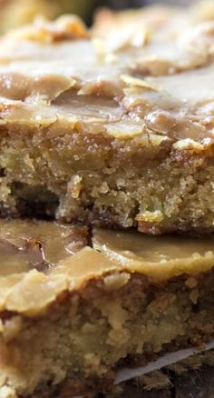 Glazed Apple Maple Blondies Recipe ~ so moist and flavorful with apples baked right inside