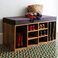 shoe storage bench diy - Kinds of Shoe bench storage Japanese . Shoe Storage Unit, Bench With Shoe Storage, Laundry Room Storage, Diy Storage, Storage Ideas, Boot Storage, Entryway Shoe Bench, Front Door Shoe Storage, Shoe Storage Bench Entryway