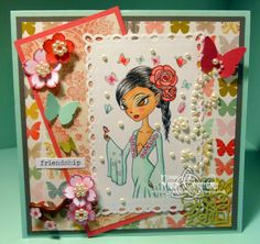 Charmed Stamping: The East Wind Lucy Loo Flower Goddess handmade card
