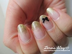 golden bow nails, french nails, gold glitter, bow, nail polish, elegant nails