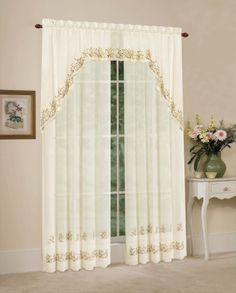Heather sheer curtains are a beautiful ivory sheer delicately embroidered with flowers & leaves.   #Rod  #Pocket #Curtains