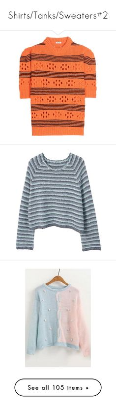 """""""Shirts/Tanks/Sweaters#2"""" by em-monk on Polyvore featuring tops, sweaters, multi stripe sweater, miu miu top, red top, red wool sweater, striped wool sweater, striped knit sweater, long sleeve crop sweater and knit crop top"""
