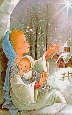 Vintage Greeting Cards, Vintage Christmas Cards, Retro Christmas, Christmas Goodies, Vintage Holiday, Christmas Art, All Things Christmas, Beautiful Christmas, Christmas Manger