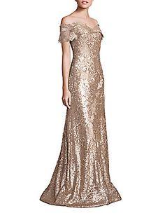 RENE RUIZ Off-the-Shoulder Sequin Lace Applique Gown