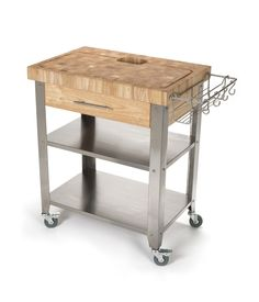 Chris & Chris Rubber Wood Stainless Steel Kitchen Cart - 30 x 20