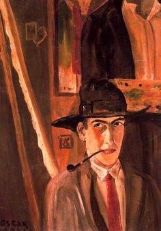 """""""Autorretrato"""". Óscar Dominguez. 1926. Óleo sobre lienzo. 80x56 cm. Colección Caja General de Ahorros de Canarias, Tenerife, España."""