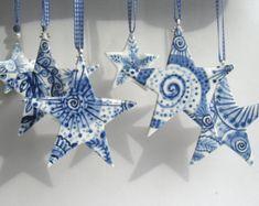 Peint à la main de l'étoile du Nord - Delft Blue - bleu et blanc en porcelaine de Delft décoration de Noël
