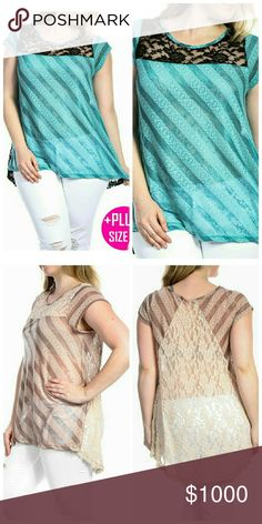 """Jade Sheer Top Plus Size Stripe Sheer Top  Fabric: 70% Polyester 25% Rayon 5% Spandex  Made in USA   Mocha photo is only for visual of the style.  1X  Bust: 42""""  Length: 29"""" (front)  Length: 31""""    2X   Bust: 44""""  Length: 30"""" (front)  Length: 32"""" (back)  3X   Bust: 46"""" Length: 31"""" (front) Length: 34"""" (back) Tops"""