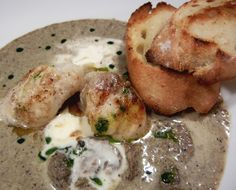 Brandied Cream of Mushroom Soup with Butter Poached Monkfish.