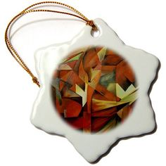 orn_46658_1 Taiche - Acrylic Painting - Foxes - Foxes - abstract+art, animal, animals+in+art, brown, cubism, cunning, fox - Ornaments - 3 inch Snowflake Porcelain Ornament 3dRose http://www.amazon.com/dp/B007ZSXDW2/ref=cm_sw_r_pi_dp_9evqwb0E2DRNW
