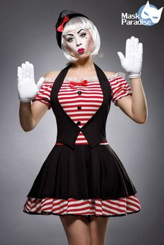 sexy PantomimeKostüm aus der Mask Paradise collection   - sexy Pantomime-Kostüm - Minikleid mit Puffärmelchen - akzentuierter Ausschnitt - mit angesetzter Spitze - mit...