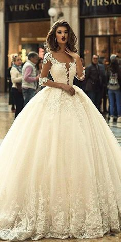 24 Top Wedding Dresses For Bride ❤ top wedding dresses ball gown with illusion sleeves deep v neckline vogues sposa ❤ Full gallery: https://weddingdressesguide.com/top-wedding-dresses/ #bride #wedding #bridalgown