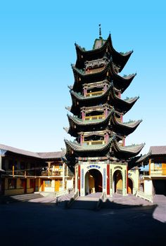 """The Bangke Tower in the Laowang Mosque, a five story, hexagonal tower. From """"Islamic Buildings,"""" a volume of the Library of Ancient Chinese Architecture."""