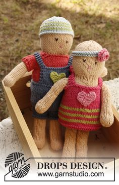 Knitted DROPS boy doll with removable clothes by DROPS Design -- what a darling children's gift this would make!
