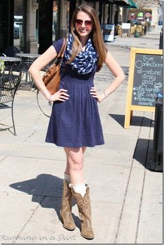 Transitioning to Spring with boots and scarfs!  Great wearable, everyday fashion idea for women.  Get your outfit inspiration here!   Running in a Skirt