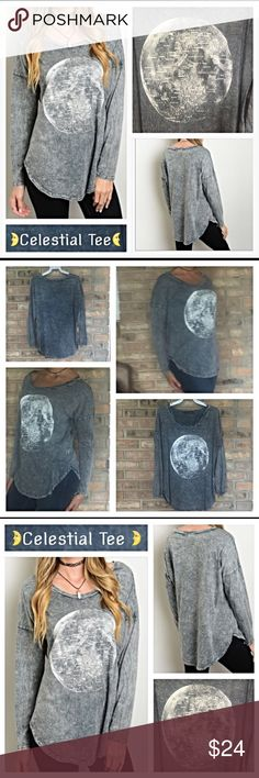 "Soft Moon Long Sleeve Grey Wash T-shirt SML Soft gray wash long sleeve celestial tee for those laid back kind of days. 100% cotton flattering flowy tapered fit. Each pattern varies slightly with map of the moon graphic - New from maker without tags🌜🌙 Small bust 34-36"" Length 26"" Medium bust 36-38"" Length 27"" Large bust 38-40"" Length 28"" Tops"