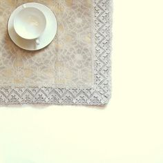 Jacquard Gray LINEN TABLECLOTH  with linen by LinenWoolRainbow
