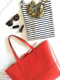 J.Crew Uptown Tote in Bright Flame