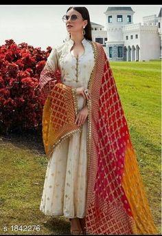 Buy Beige Rubber Printed Cotton Silk Designer Salwar Kameez Online in 2020 Party Wear Indian Dresses, Indian Gowns Dresses, Dress Indian Style, Indian Wedding Outfits, Pakistani Dresses, Indian Outfits, Pakistani Kurta, Salwar Suits Party Wear, Indian Kurta