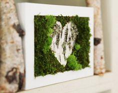 Birch Bark Heart & Moss Rustic Framed Art - Zero Care, Real and Preserved. Moss Wall Art, Moss Art, Moss Graffiti, Birch Bark Crafts, Moss Decor, Unique Valentines Day Gifts, Woodland Art, Green Wall Art, Organic Art