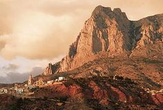 Above Benidorm to Finestrat, the hills overlooking the Mediterranean. Popular rock climbing area.