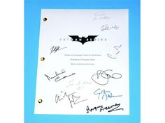 Batman Begins 2005 Movie Script Autographed: Christopher Nolan, Christian Bale, Liam Neeson, Katie Holmes, Gary Oldman, Morgan Freeman