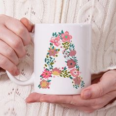Flower Initial mug Personalized mug Monogram Coffee Mug Cute Mugs, Funny Mugs, Funny Coffee, Monogram Coffee Mug, Coffee Mugs, Sharpie Paint Pens, Pottery Painting Designs, Paint Your Own Pottery, Arts And Crafts