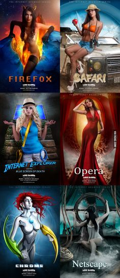 The Internet Browser Series: If Firefox, Safari, IE, Opera, Chrome And Netscape Were Women Safari, Best Funny Pictures, Funny Images, Cosplay Girls, Cool Artwork, Amazing Artwork, Web Design, Graphic Design, Fantasy Art