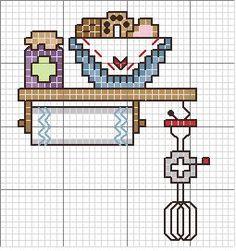 Sweet little kitchen cross stitch. Cross Stitch Needles, Cross Stitch Charts, Cross Stitch Designs, Cross Stitch Patterns, Crewel Embroidery, Cross Stitch Embroidery, Embroidery Patterns, Cross Stitch Kitchen, Little Stitch