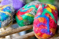 Felted soaps!  How much fun will my kids have adding wool felt to their soaps?!  The wool acts as a gentle exfoliate and shrinks as the soap shrinks.