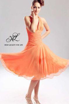 Robe de soiree marron orange