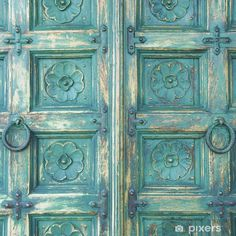 Turquoise Furniture, Funky Painted Furniture, Painted Doors, Wooden Doors, Painted Pianos, Fabric Photography, Pet Photography, Photography Backdrops, Furniture Painting Techniques