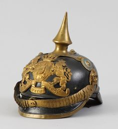 Learn more about Prussian Helmet available at Cottone Auctions. Take a look now before it is too late! Imperial Army, Headgear, Germany, Auction, Military Uniforms, Helmets, 19th Century, Steampunk, Fantasy