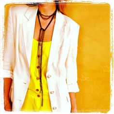 My mother's #vintage blazer & my bright yellow blouse & chain necklace... loving #neon & #neutrals this spring!