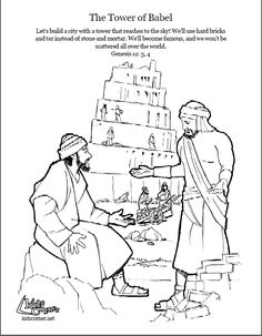 Tower Of Babel Coloring Page Script And Bible Story