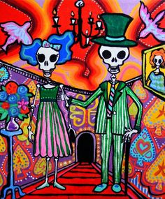 Day of the Dead Wedding Couple #art #print