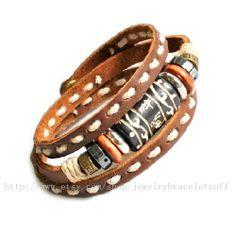 bangle bracelet leather bracelet men by jewelrybraceletcuff, $8.50