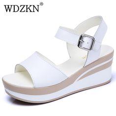 626edc5b WDZKN nuevo alto tacón sandalias de las mujeres de fondo grueso Sandalias  con tacón de cuña de cuero de verano Zapatos casuales zapatos de mujer  Sandalias ...
