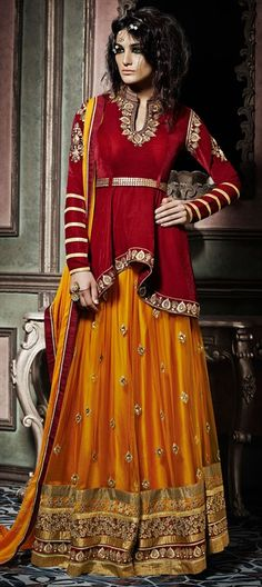 169566 Red and Maroon  color family Long Lehenga Choli in Net, Velvet fabric with Lace, Machine Embroidery, Stone, Zari work .