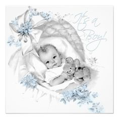 Blue Bassinet Vintage Baby Boy Shower Invitation