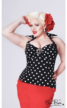 Deadly Dames Halter Top in Black with White Polka Dots - Plus Size